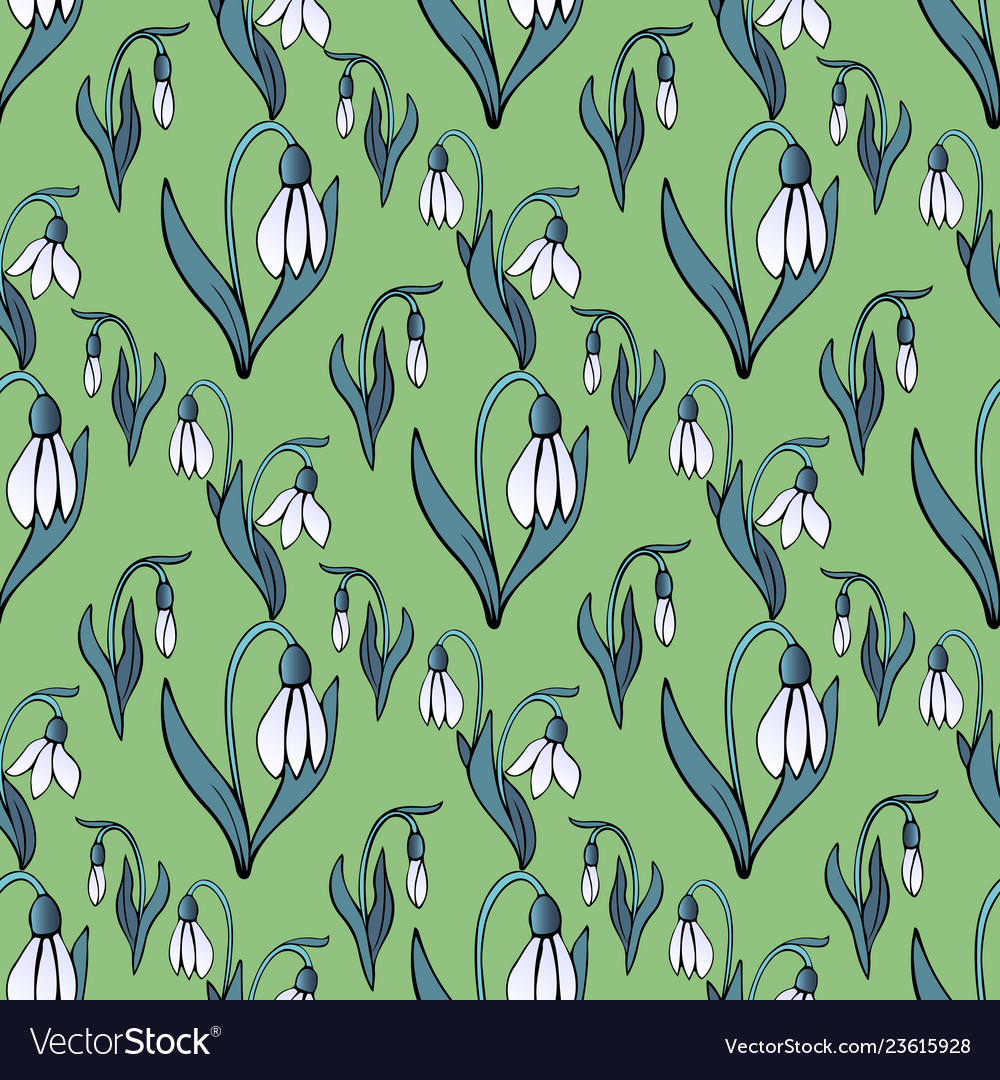 Blooming snowdrops seamless pattern floral