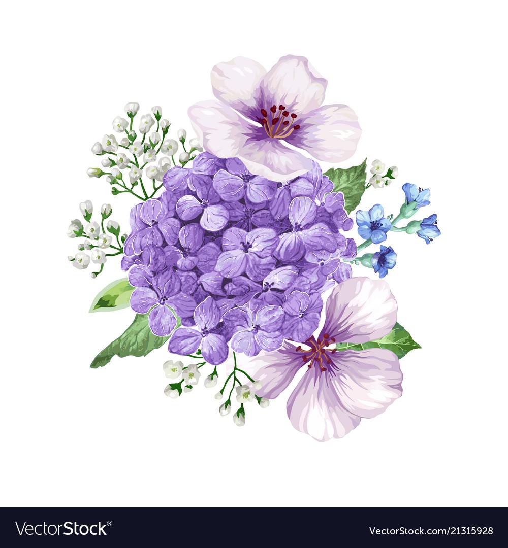 Bouquet of apple tree flower gypsophila in
