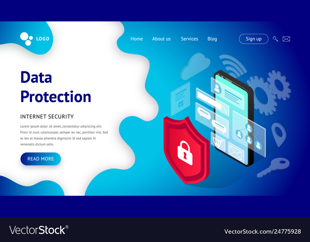 Data protection landing page smartphone