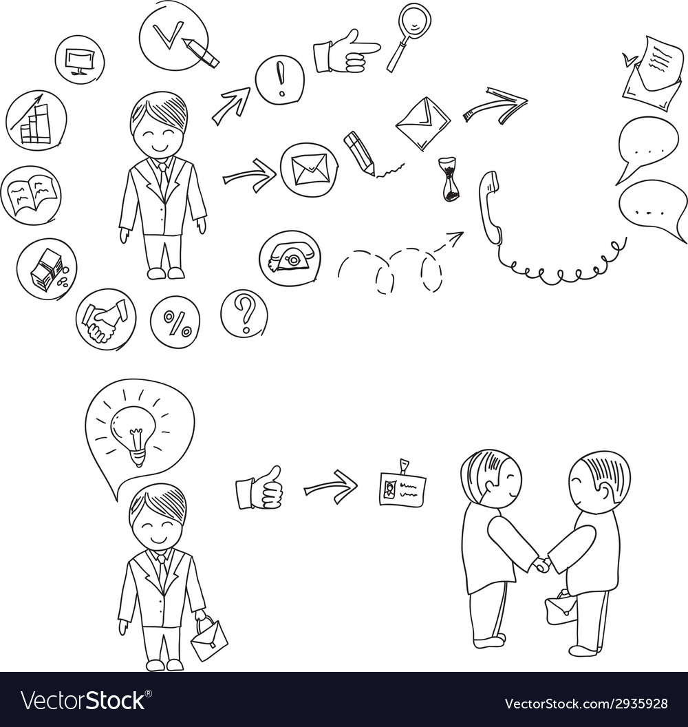 Hand doodle Business icon set idea design on a vector image