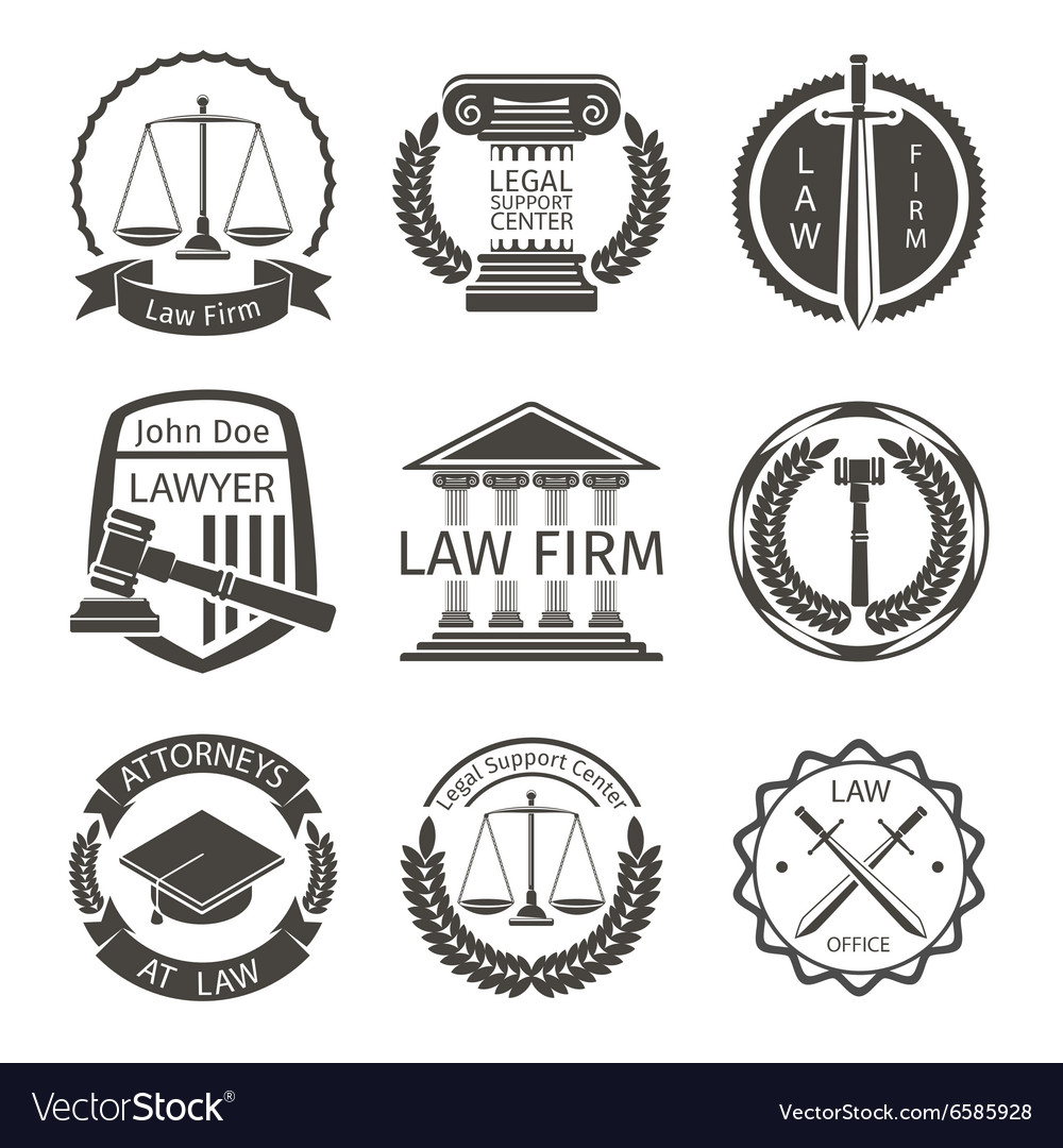Lawyer and law office logo emblem labels