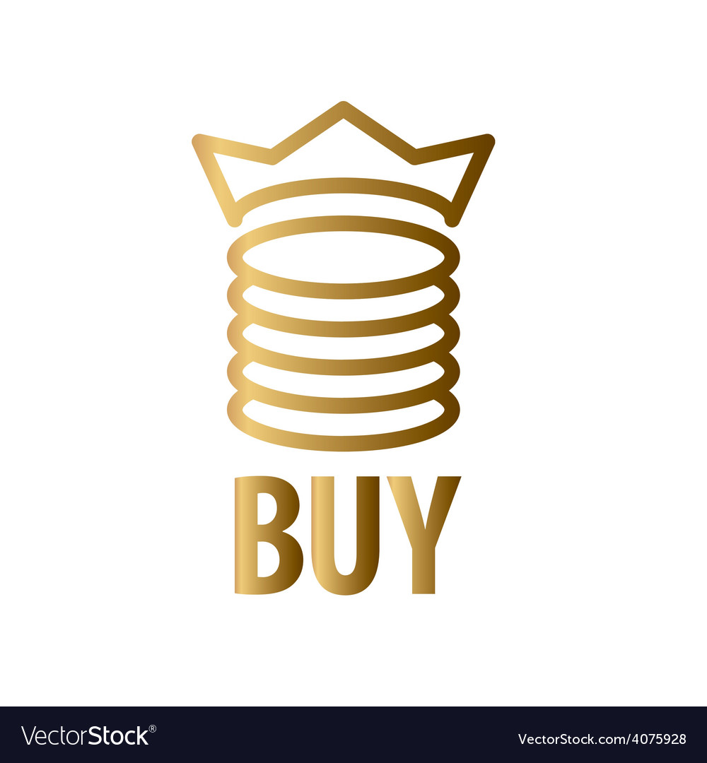 Logo gold coins and crown vector image