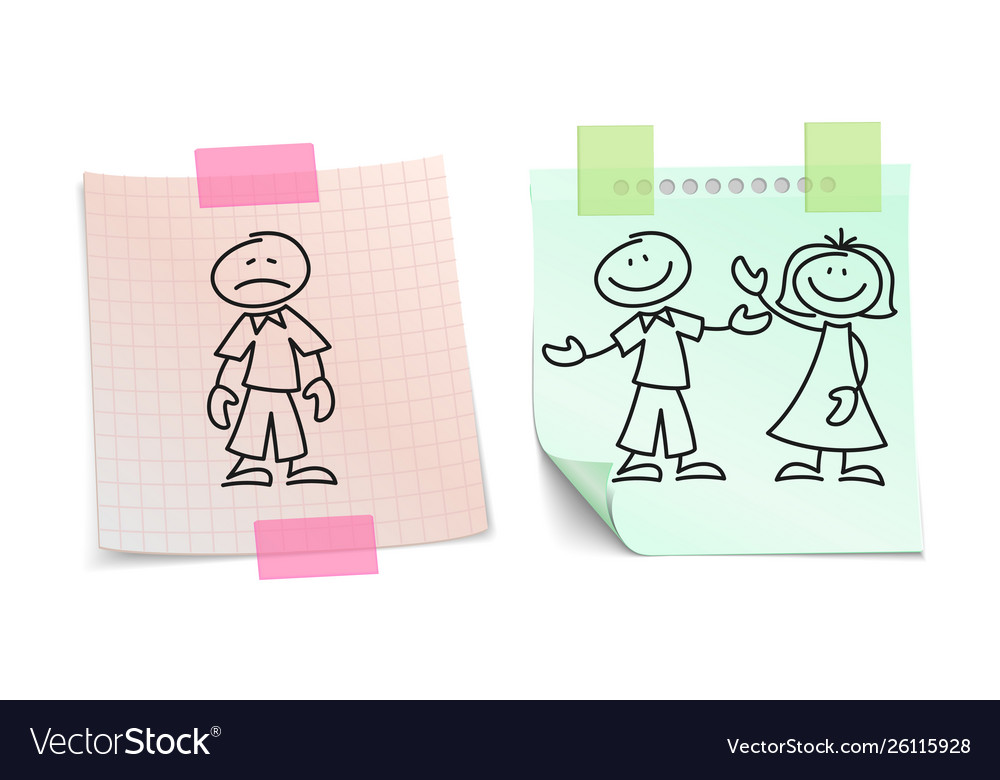 Loneliness vs happy love on paper sheets
