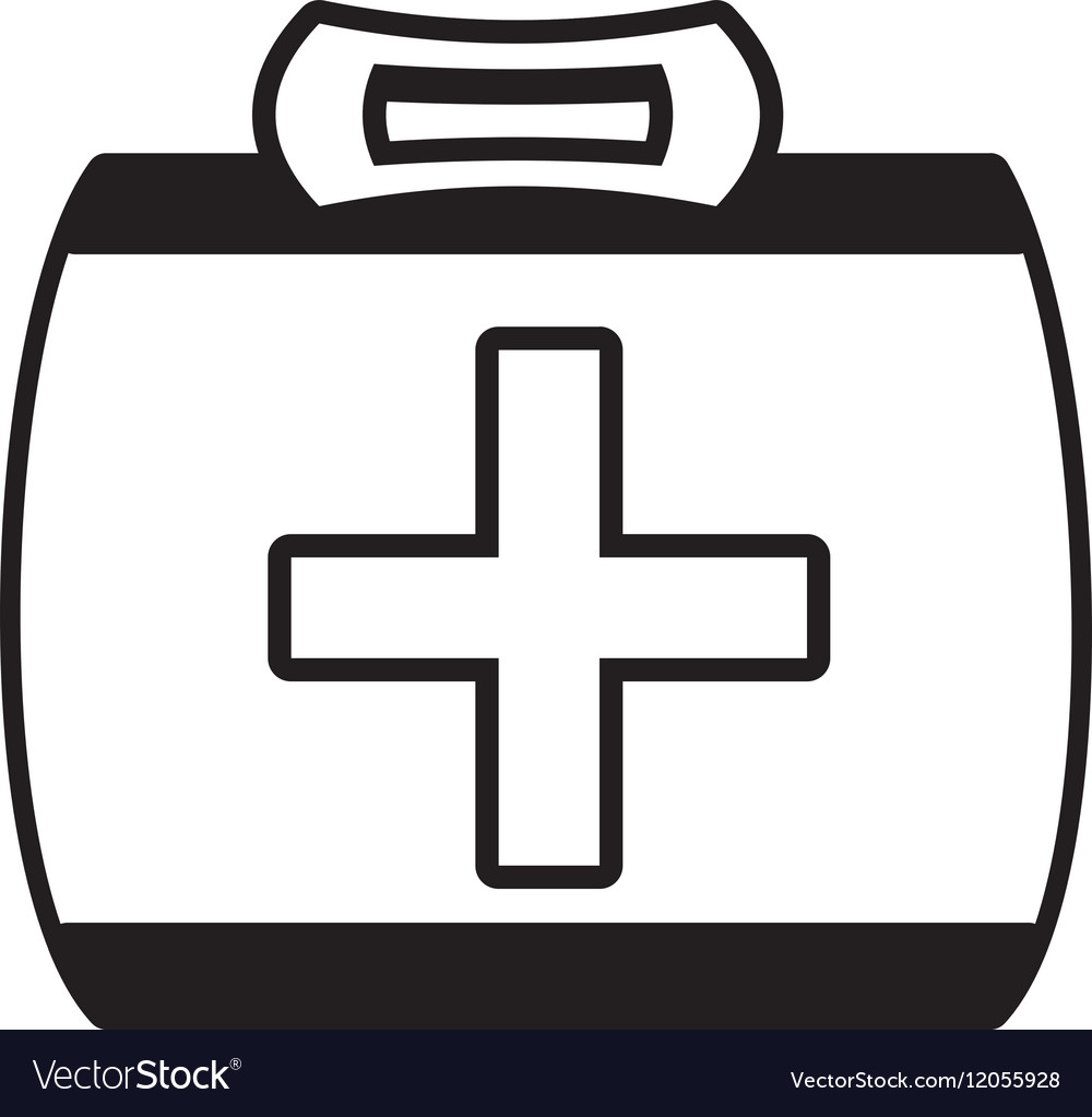 Outline kit first aid cross emergency medical vector image