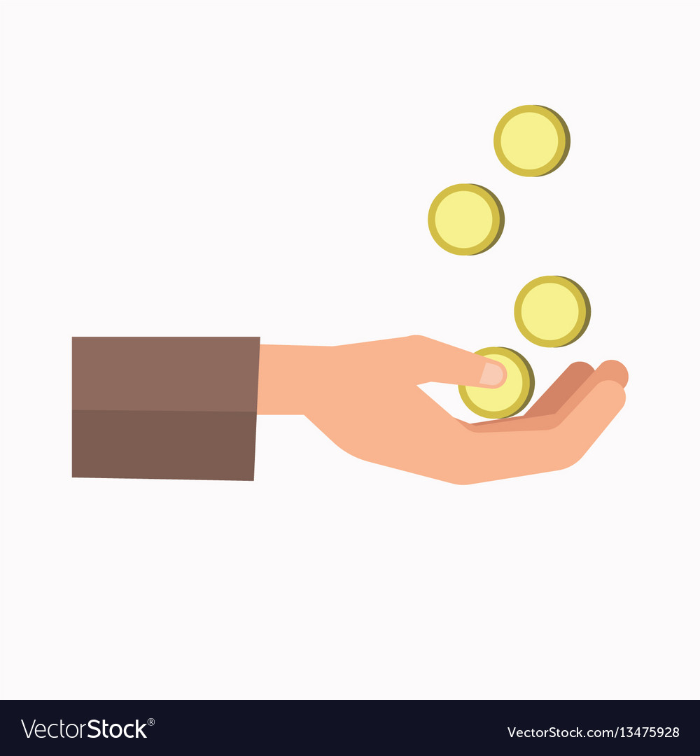 Outstretched hand and falling coins isolated on
