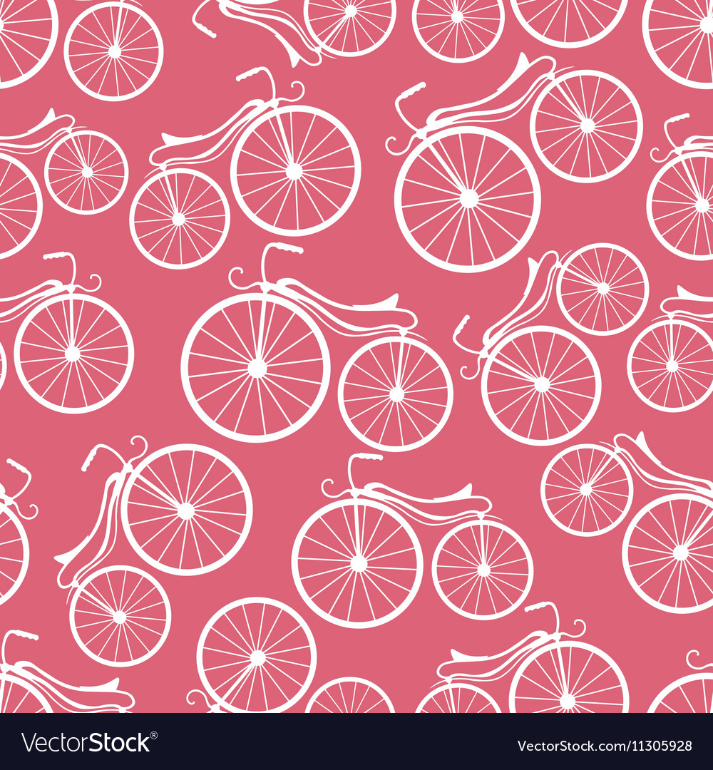 Retro bicycles pattern vector image