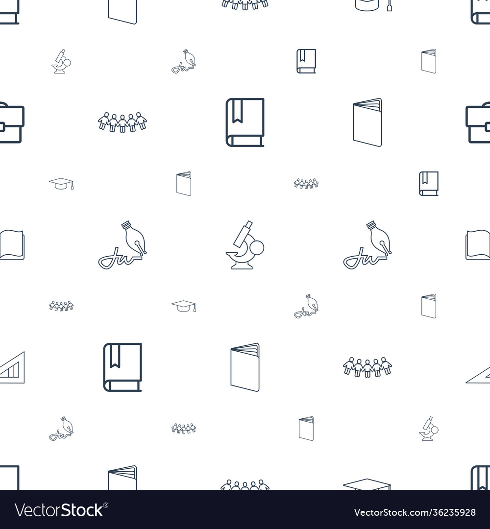 School icons pattern seamless white background