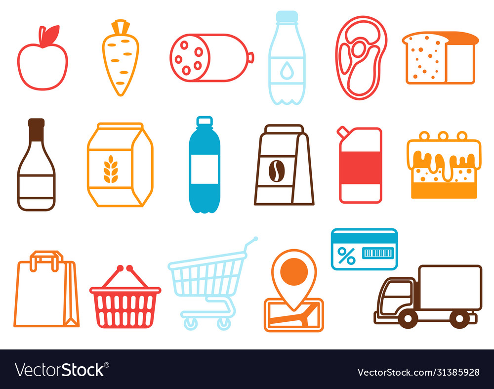 Supermarket food selfservice and delivery icons