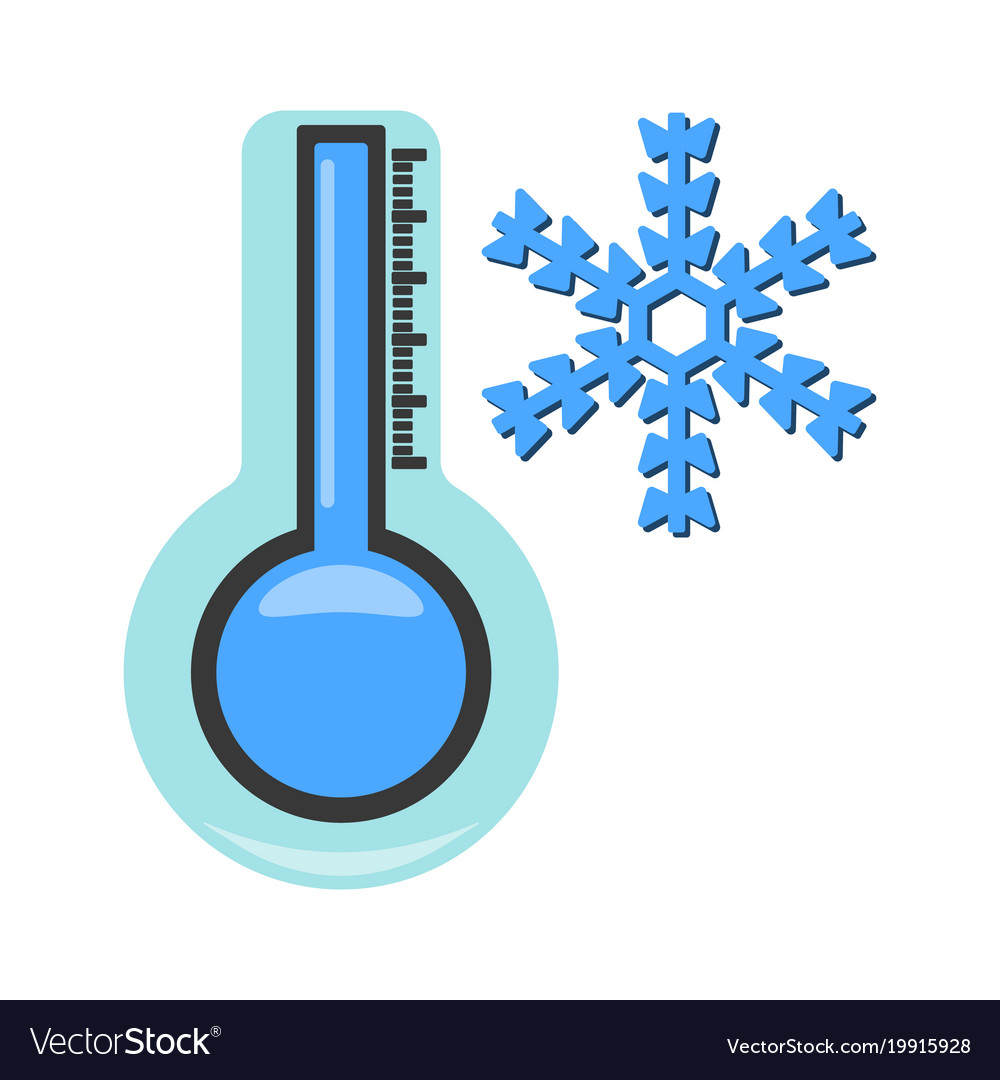 Thermometer with cold icon weather label for web