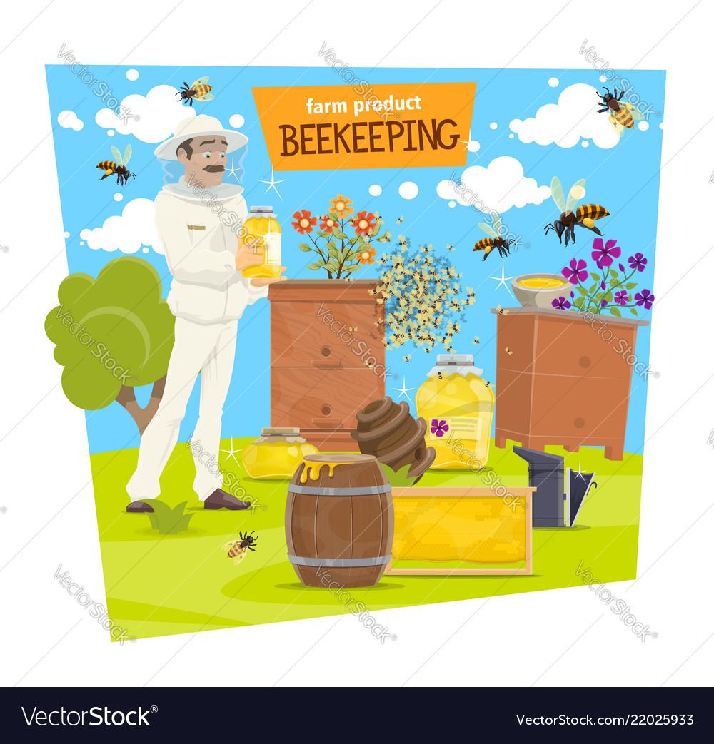 Beekeeping farm and beekeeper with honey