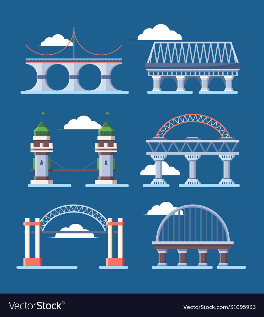 Bridge architecture set arched humpbacked city