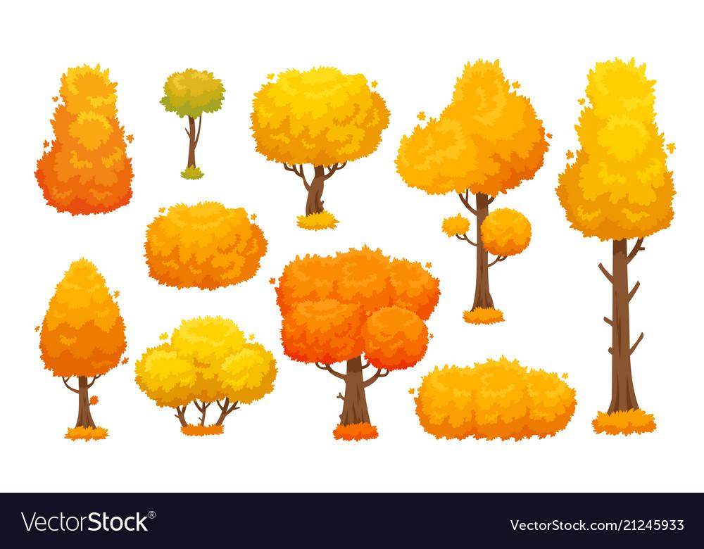 Colorful autumn trees cartoon yellow fall tree