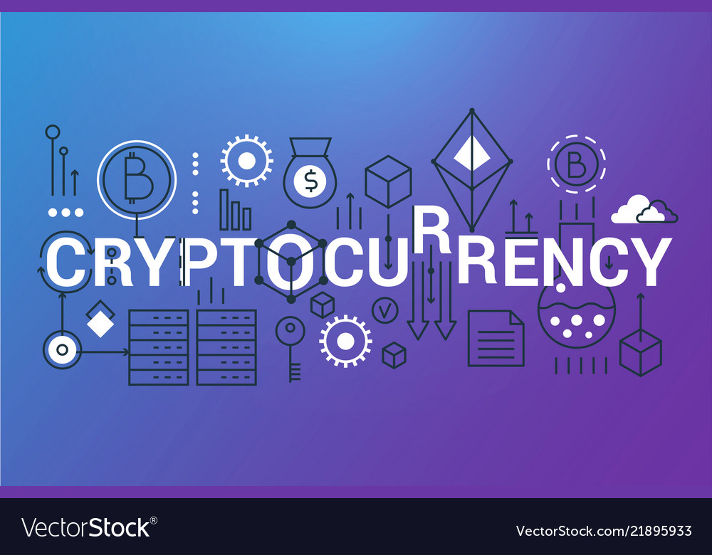 Cryptocurrency word trendy composition banner