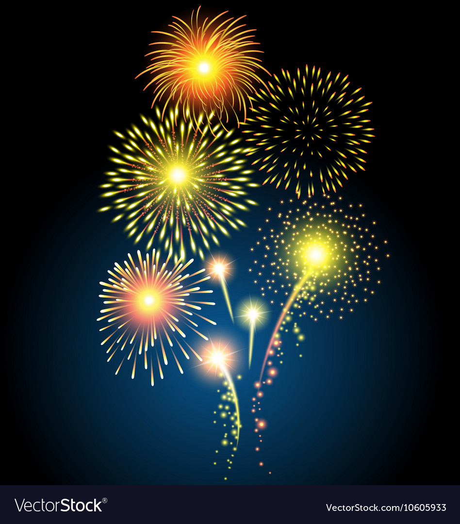 Golden firework for Christmas and Happy New Year