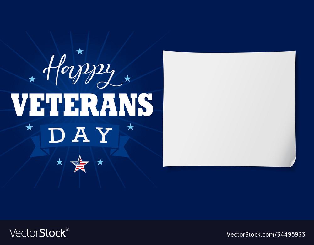 Happy veterans day usa lettering banner
