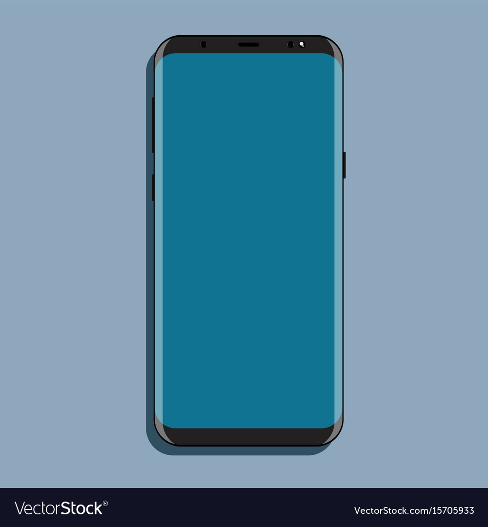 Mock-up black smartphone with blue screen flat