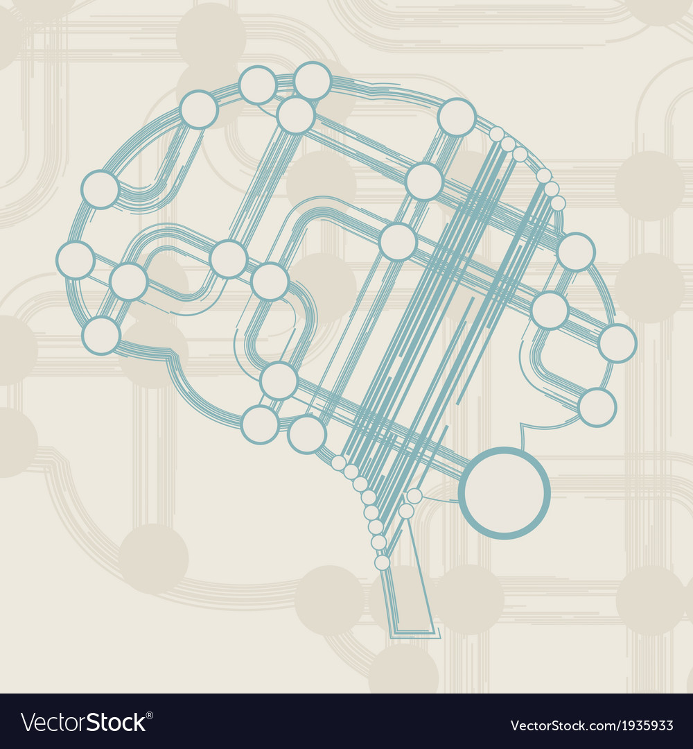 Retro Circuit Board Form Of Brain Royalty Free Vector Image Old Electronics Stock Photo