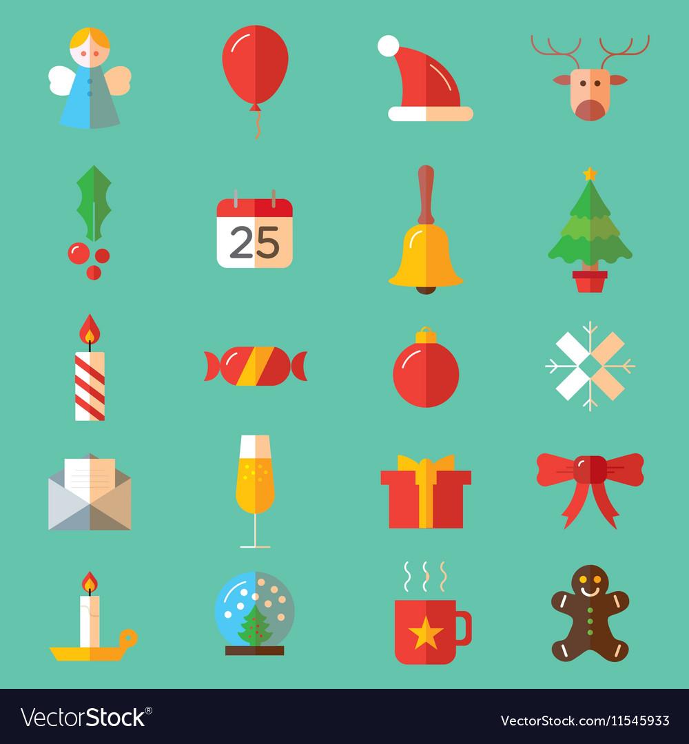 Set of flat Christmas colorful icons