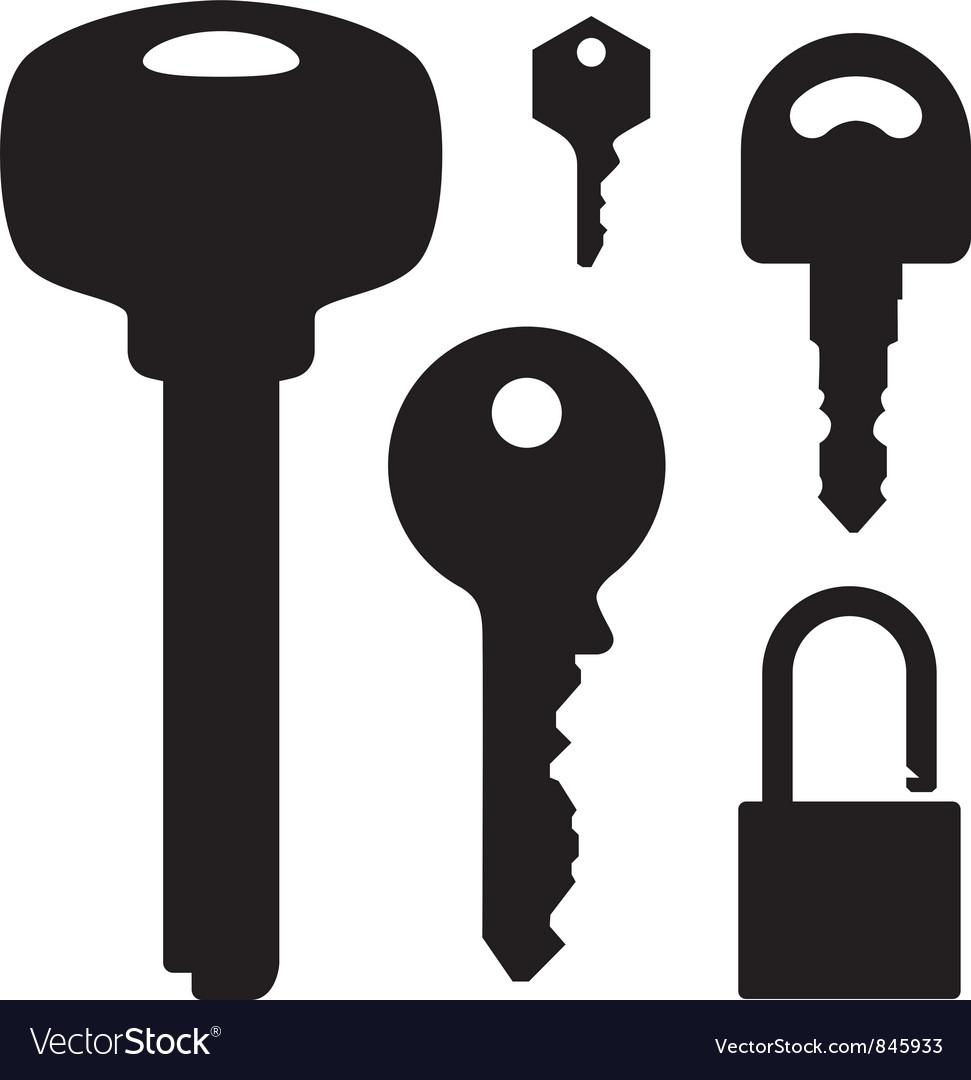 Set of keys and lock vector image