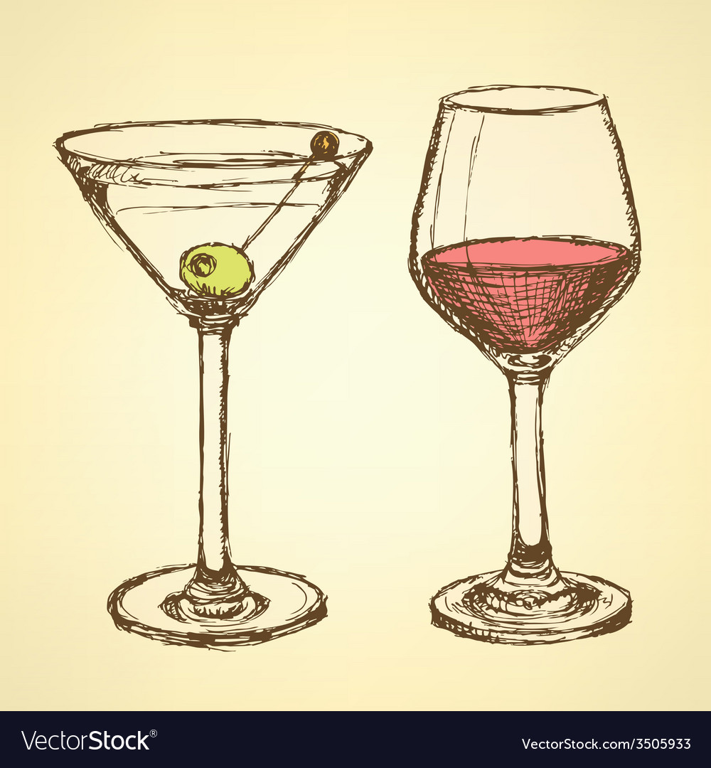 Sketch martini and wine glass in vintage style vector image
