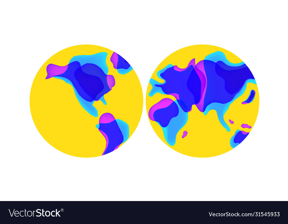 Trendy liquid shaped world map in