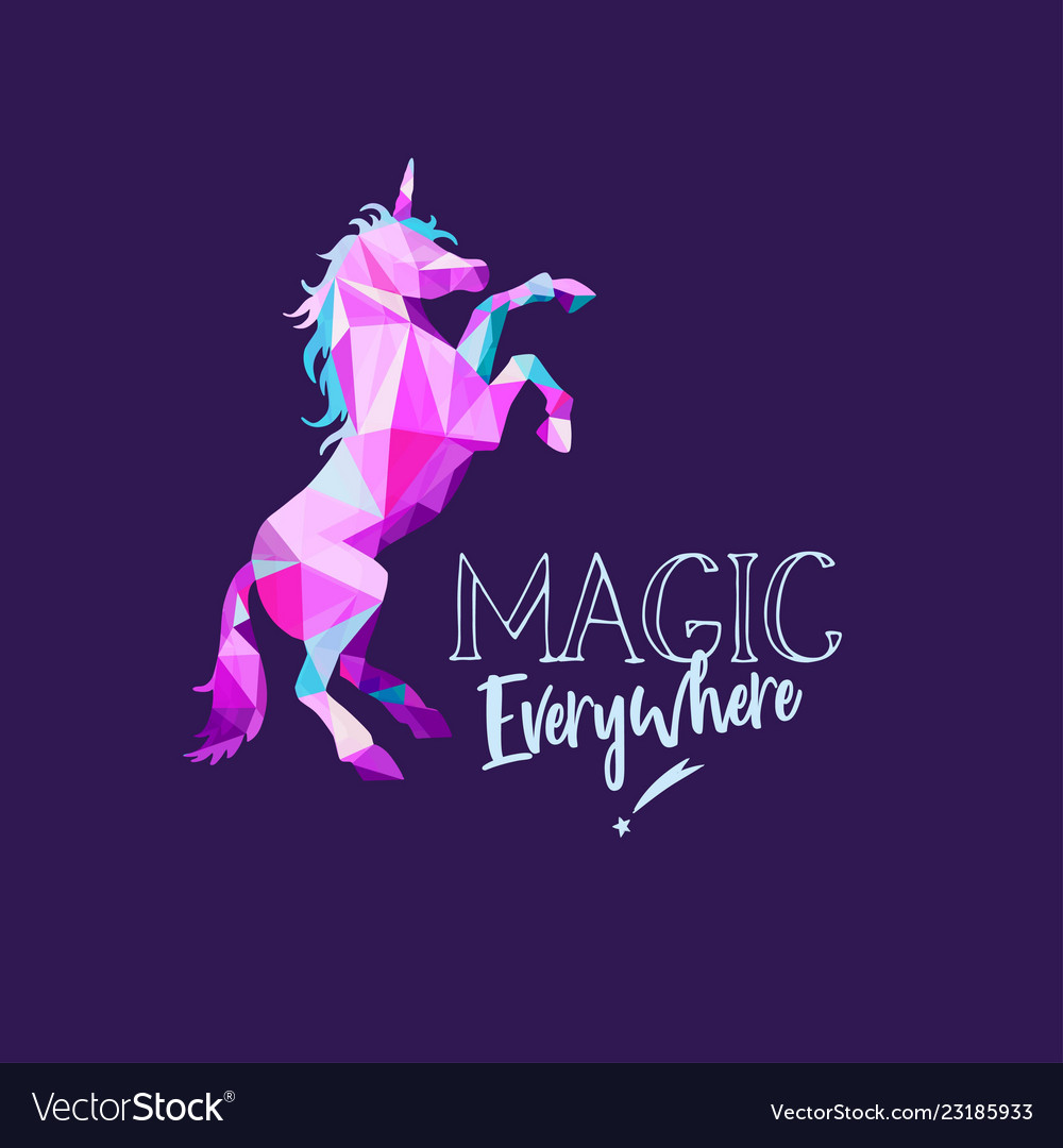 Unicorn in geometric low poly style hand