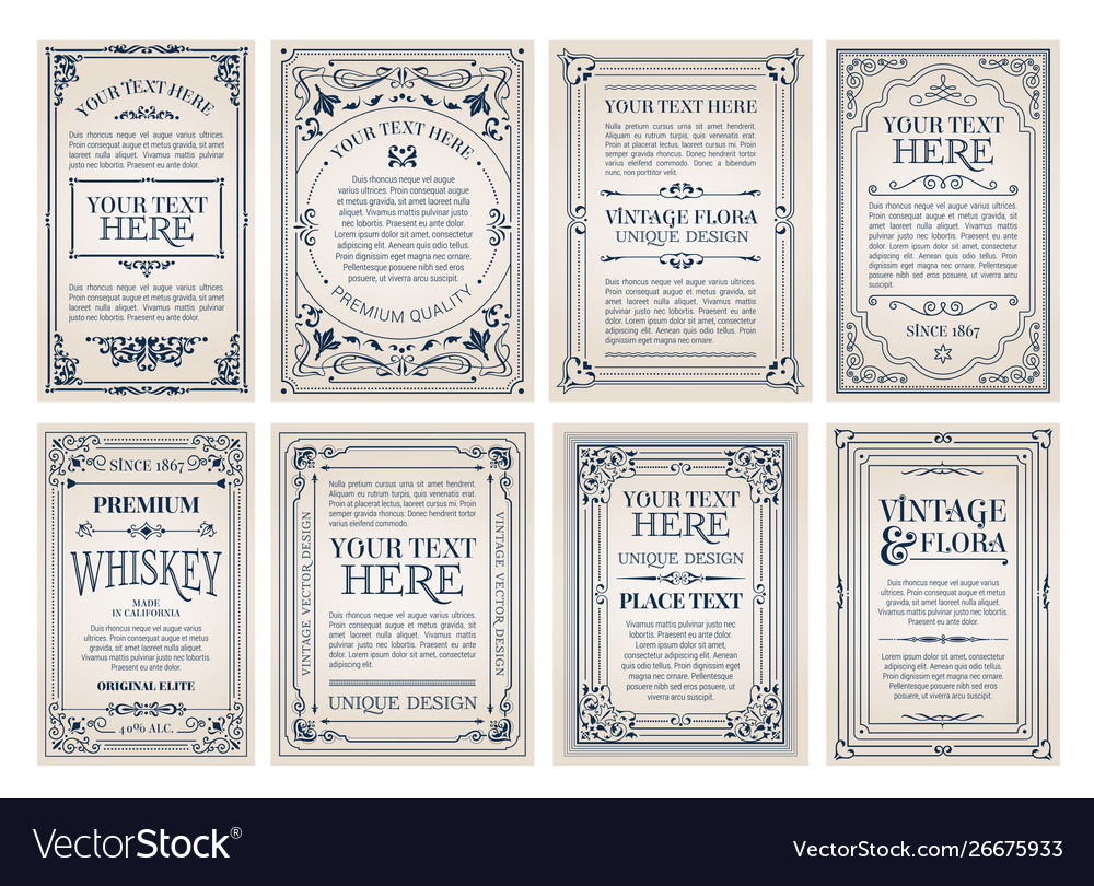 Vintage creative cards template with beautiful