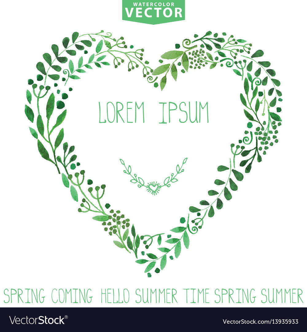 Watercolor green branches heart wreathbackgroun