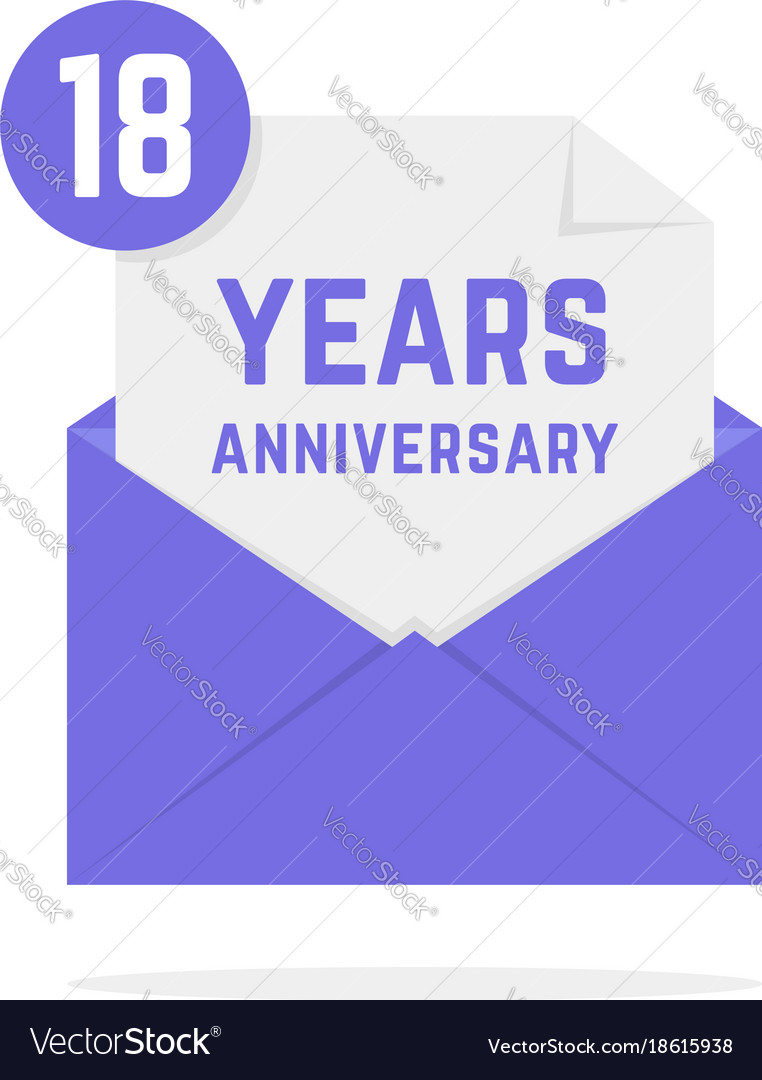 18 years anniversary icon in open envelope
