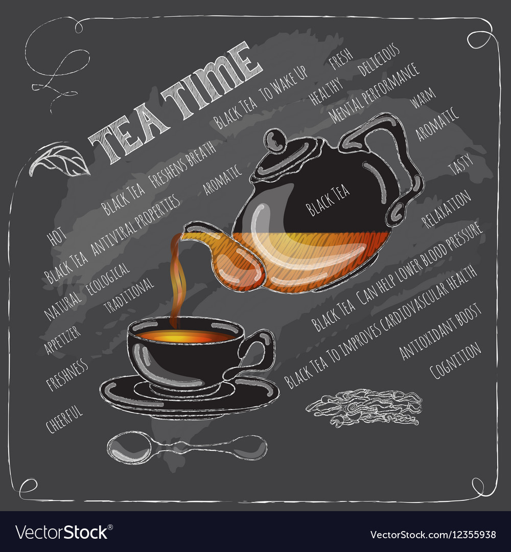 Black Tea Time card with cup teapot and spoon