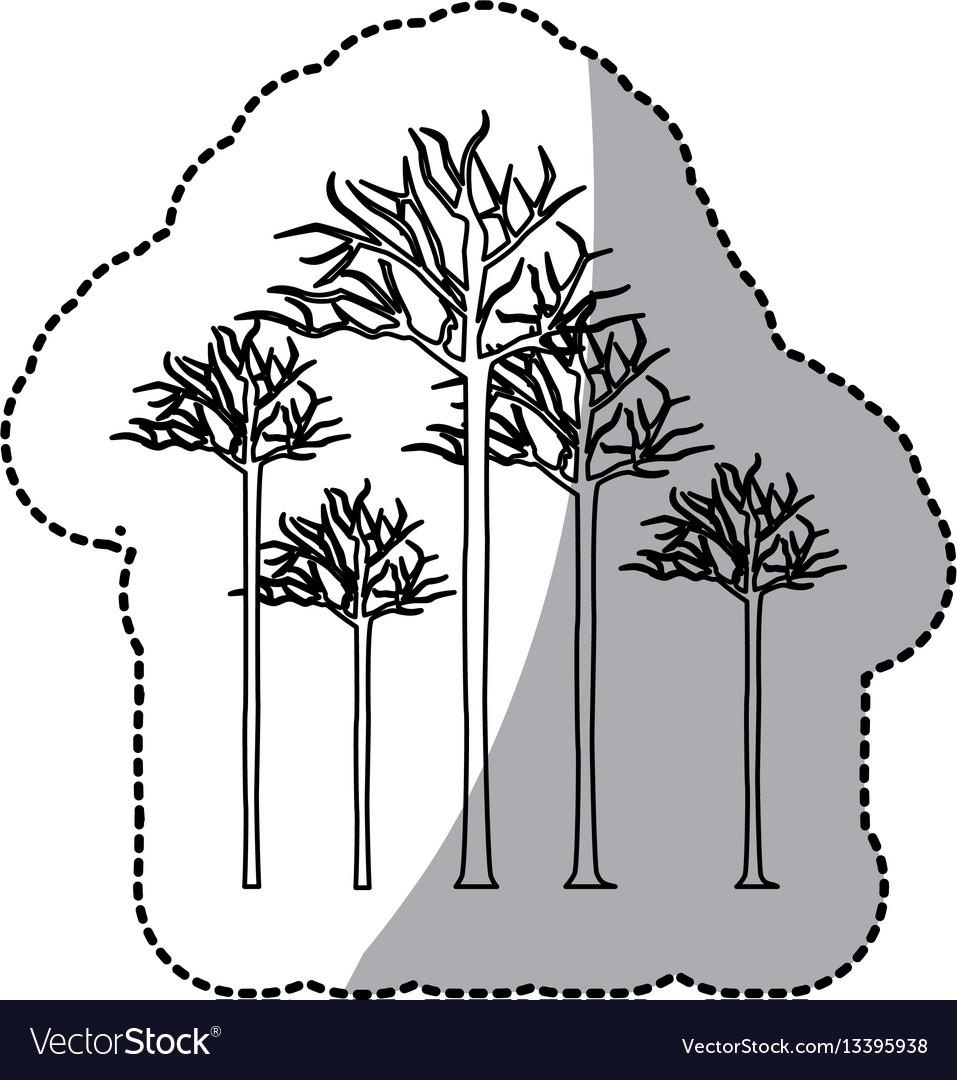 Figure bare oak trees icon