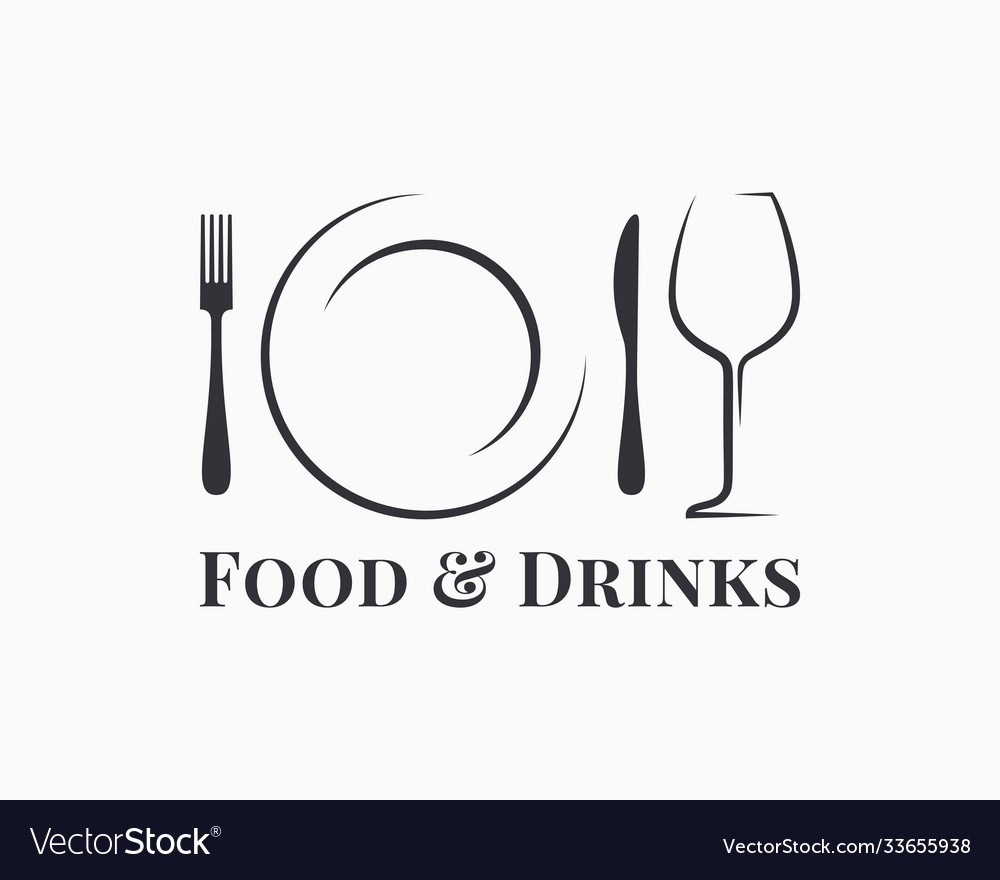 Food and drink logo plate with wine glass
