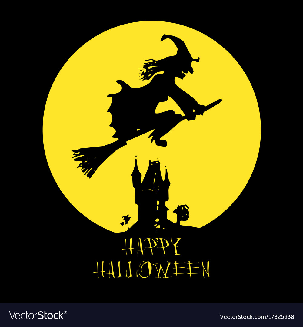 Halloween card poster with witch on full moon