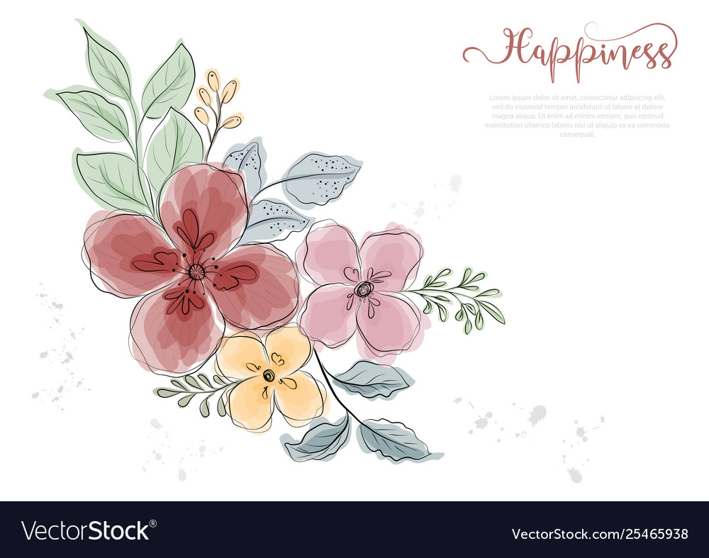 Hand drawn colorful flowers blossom with black vector