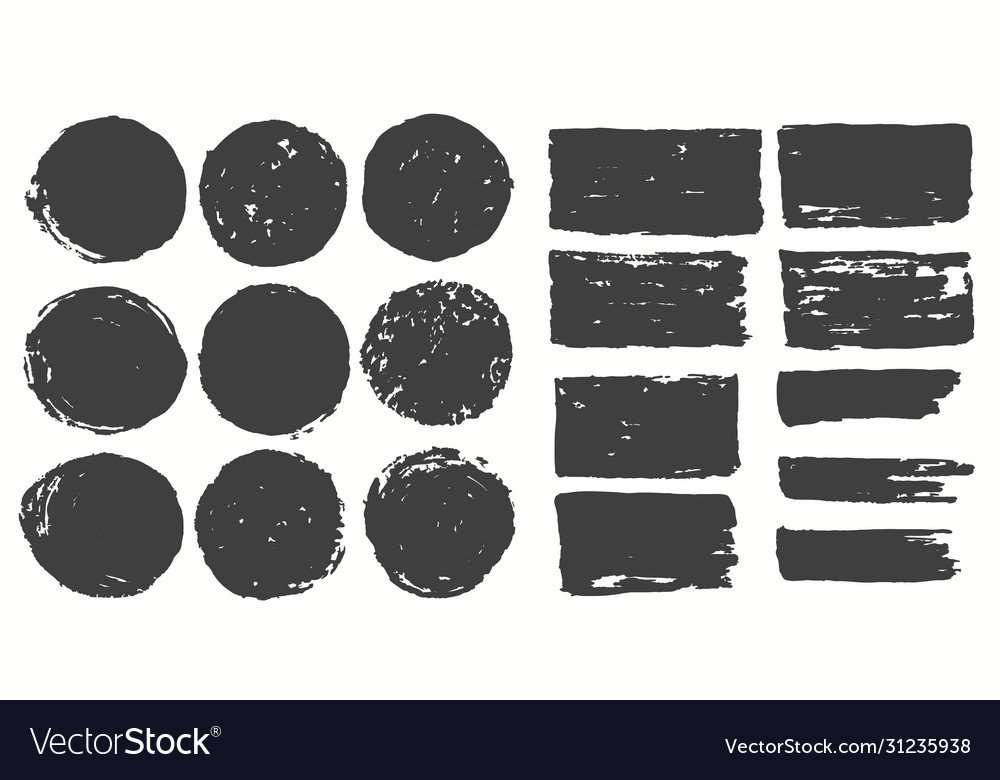 Ink brush strokes set paint spots hand made vector