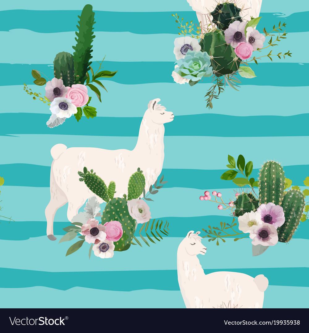 Llama and cactus seamless pattern lamas background vector image