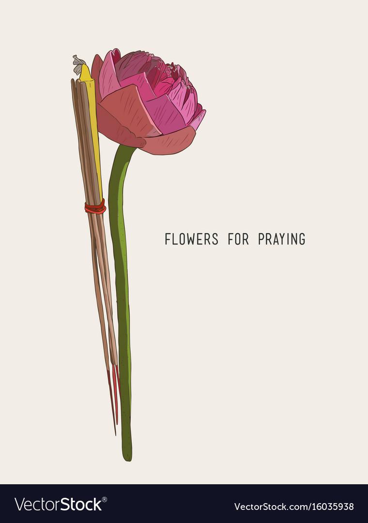 Lotus incense sticks and candles set for praying