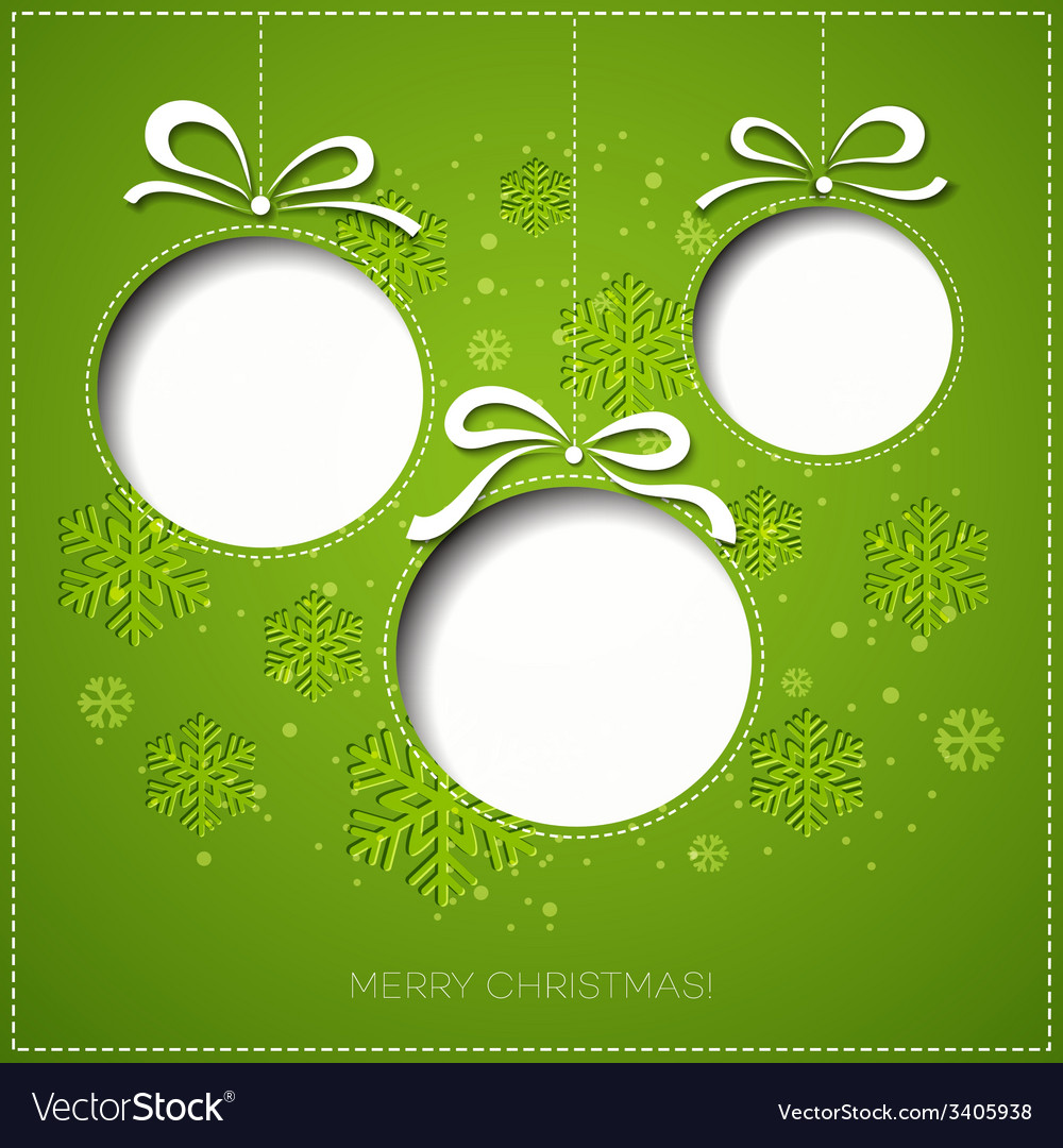 Merry Christmas greeting card with bauble Paper