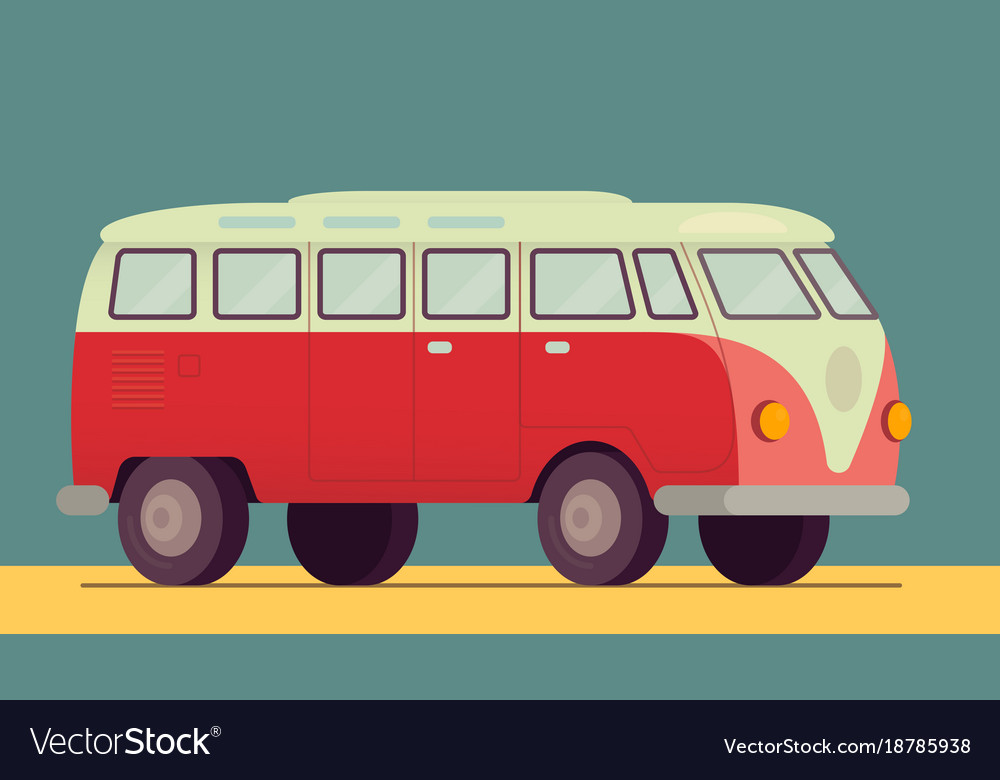 Red retro van car - 1950-1970 seventies sixties