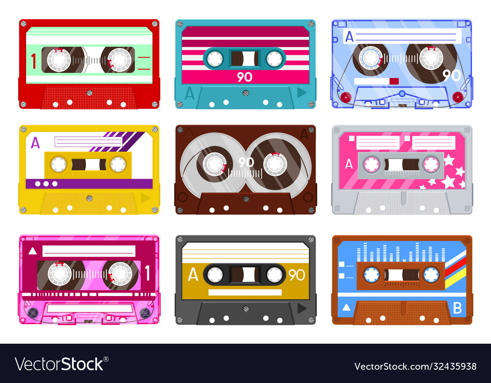 Retro audio cassette vintage audio tape 90s
