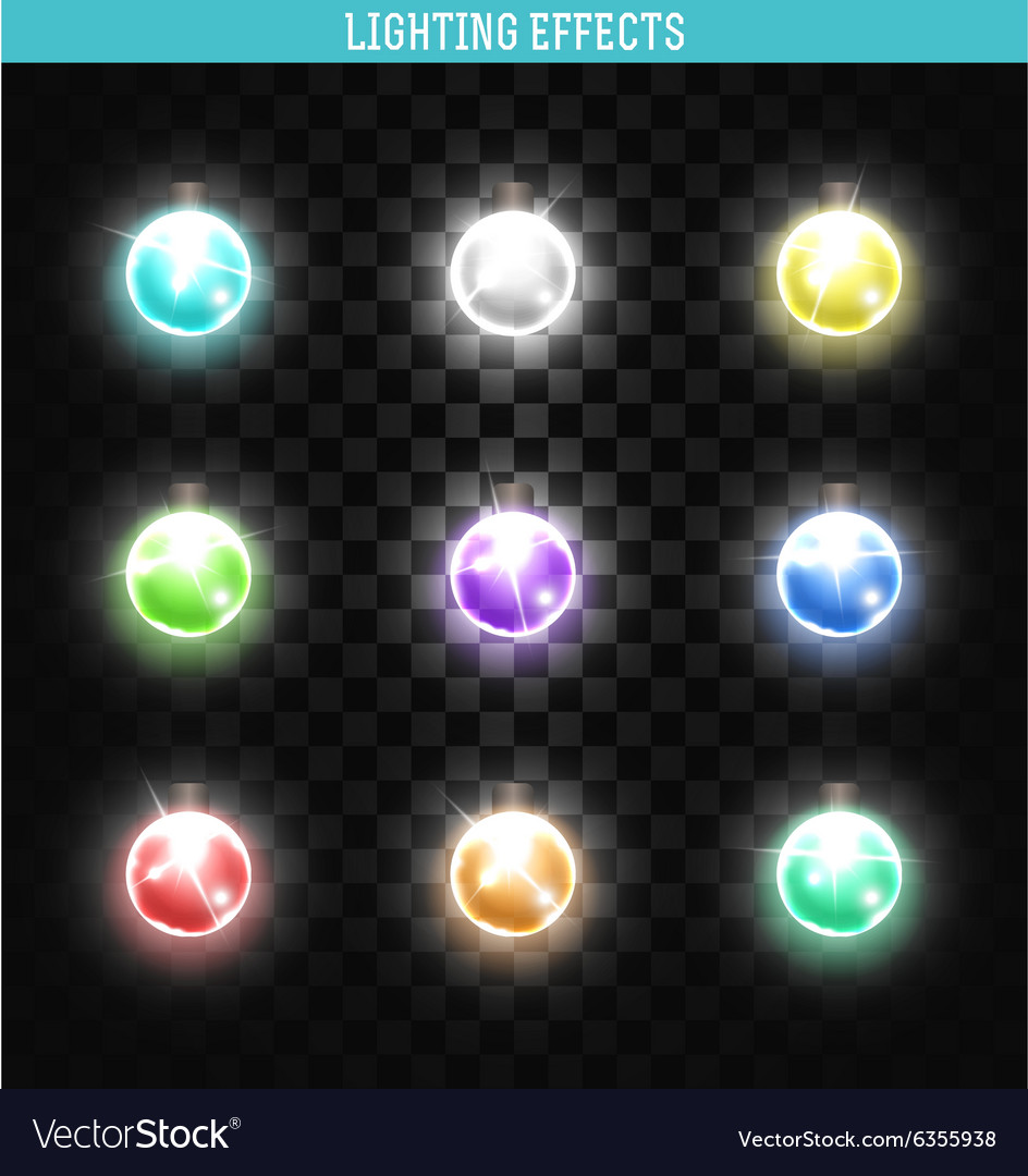 Set of 9 lamps different colors Shining isolated vector image