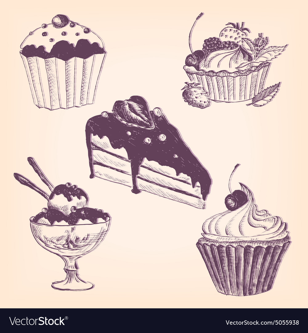 Set of hand drawn desserts