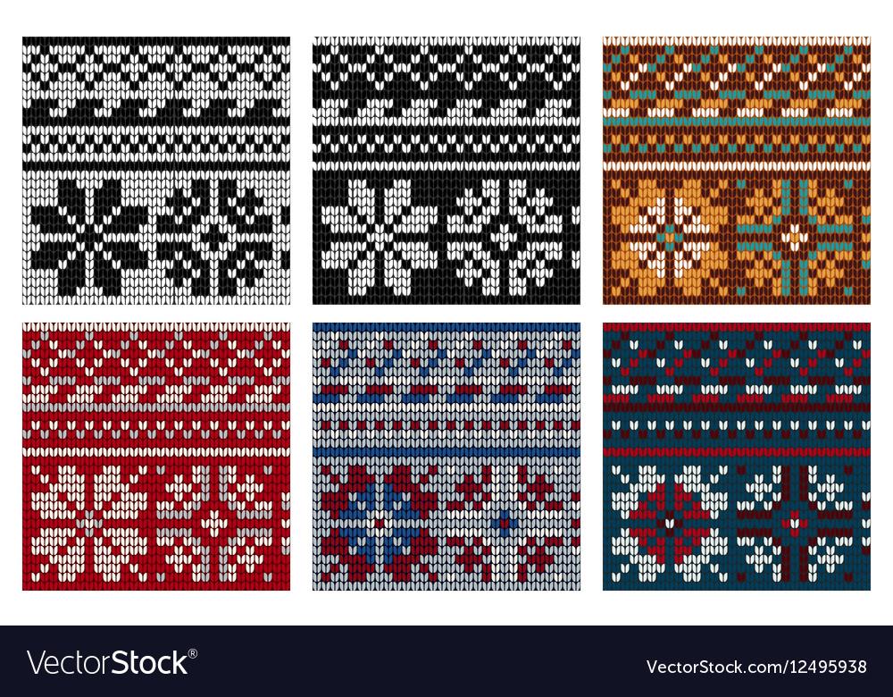 Set of Norwegian knitting seamless pattern vector image
