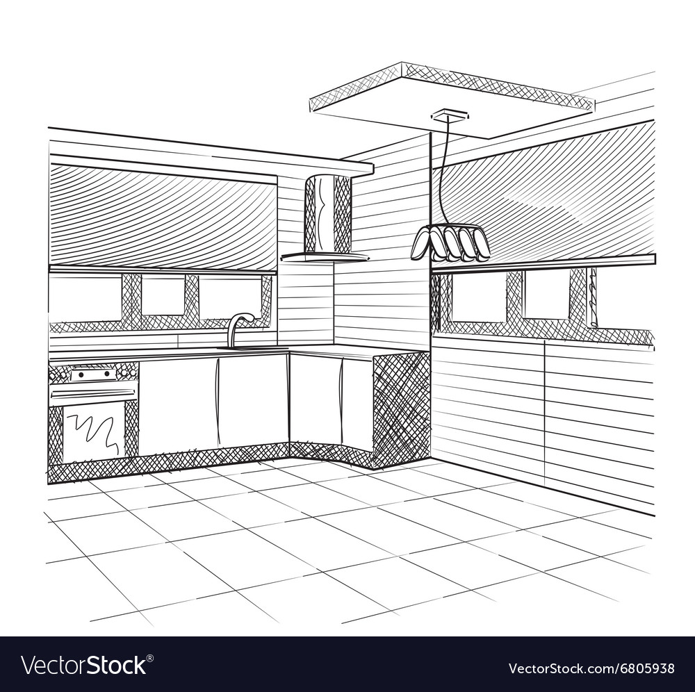 Sketch Of A Kitchen Interior Royalty Free Vector Image