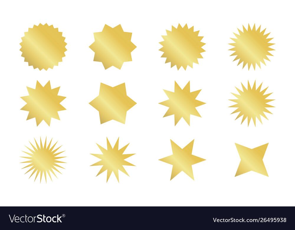 Starburst sticker set golden sunburst badges in