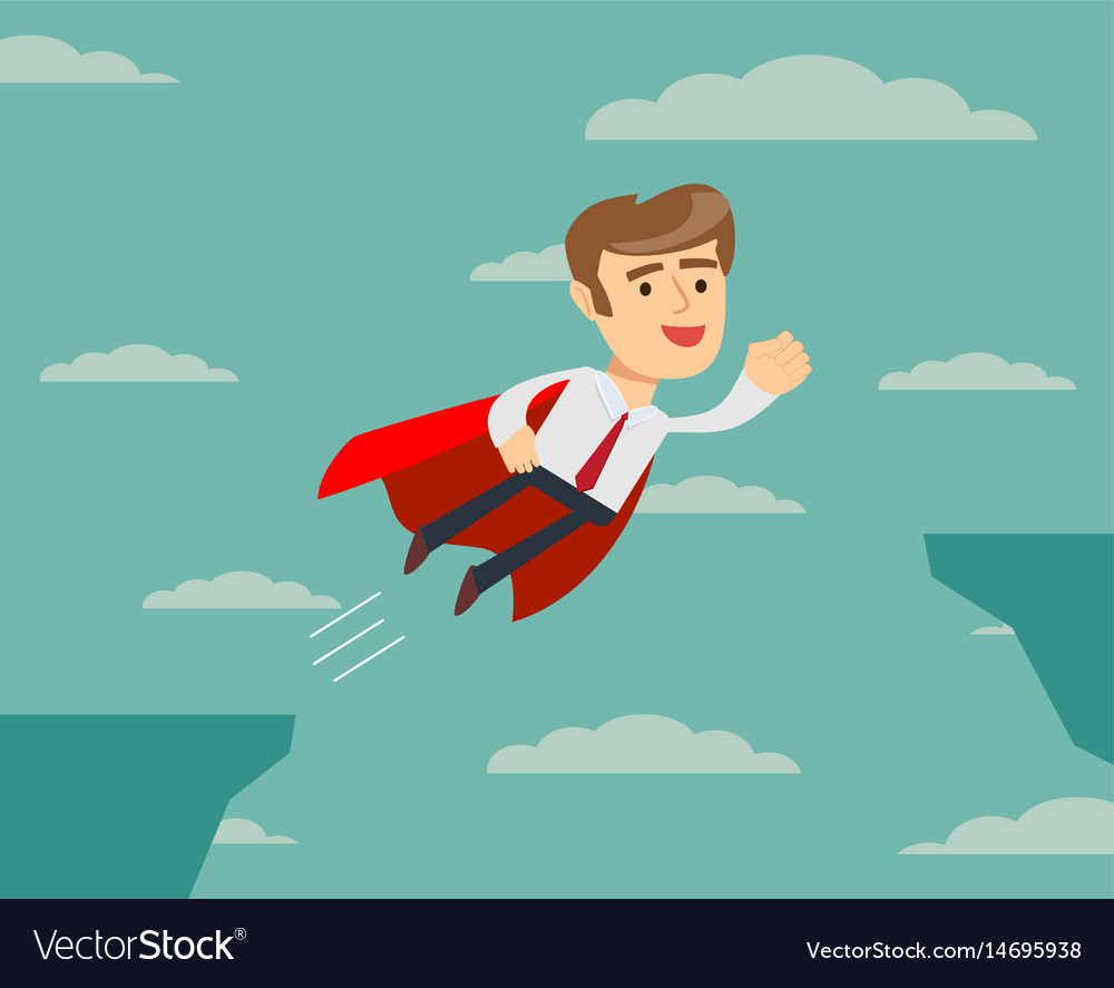 Super businessman flying across the cliff vector image