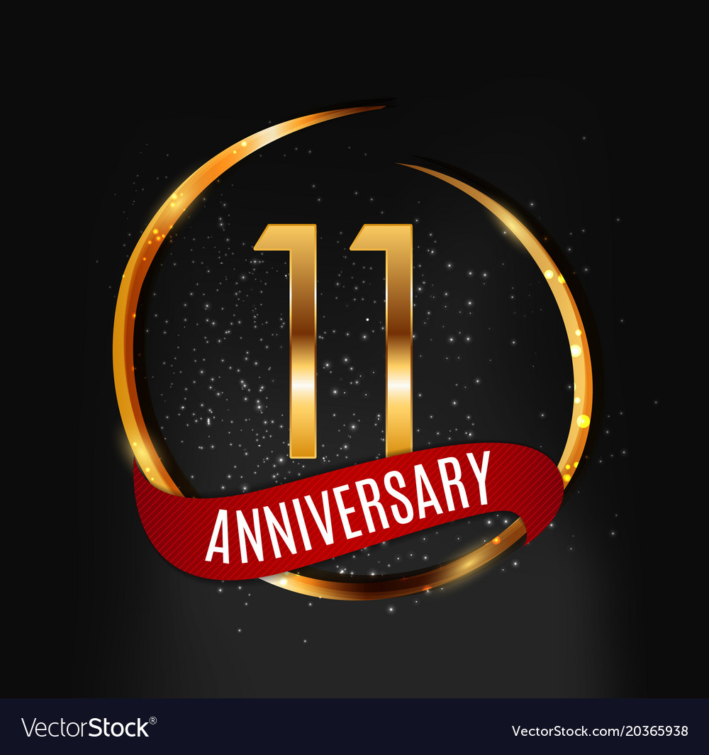 Template Gold Logo 11 Years Anniversary With Red Vector Image