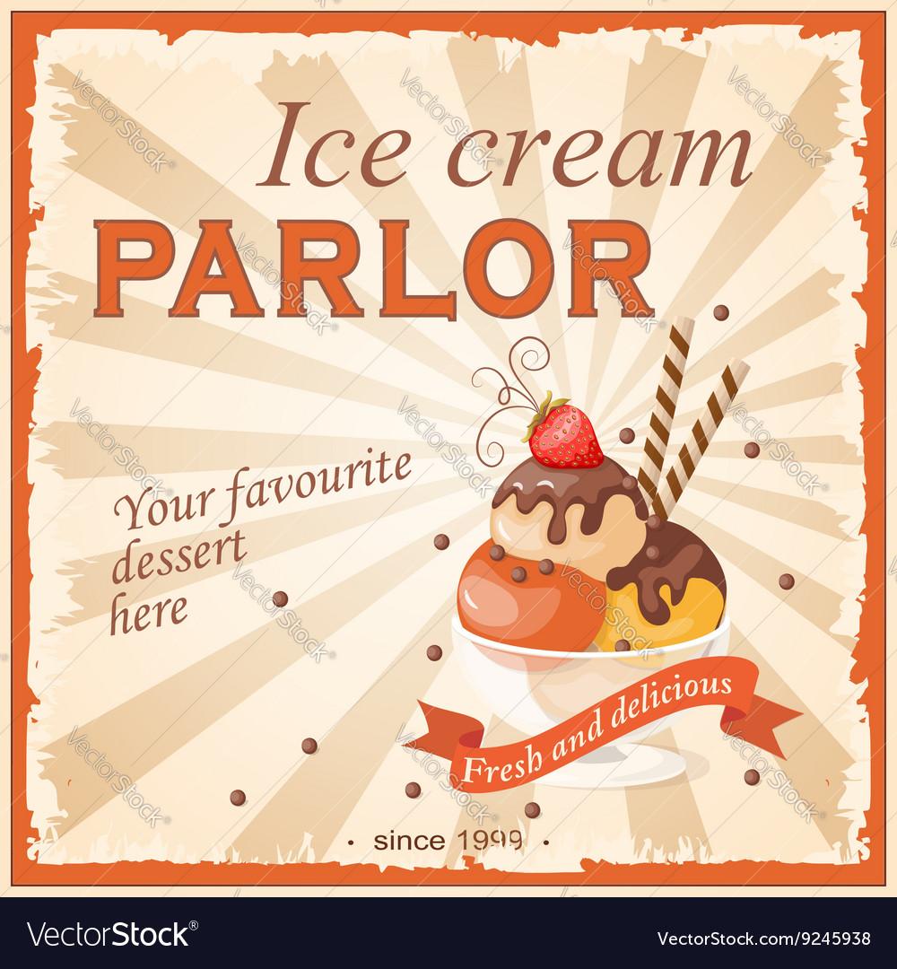 Vintage banner ice cream parlor