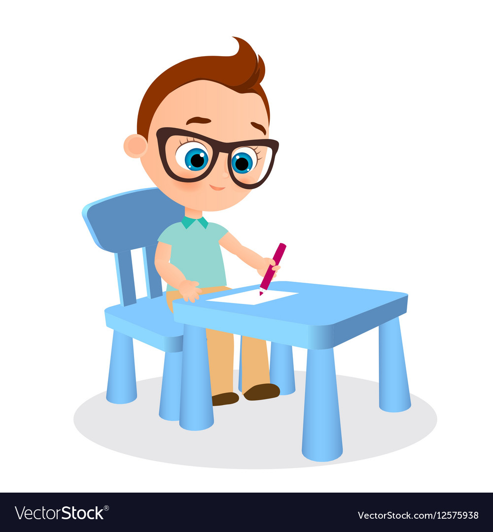 Young boy with glasses paints sitting at a school vector image