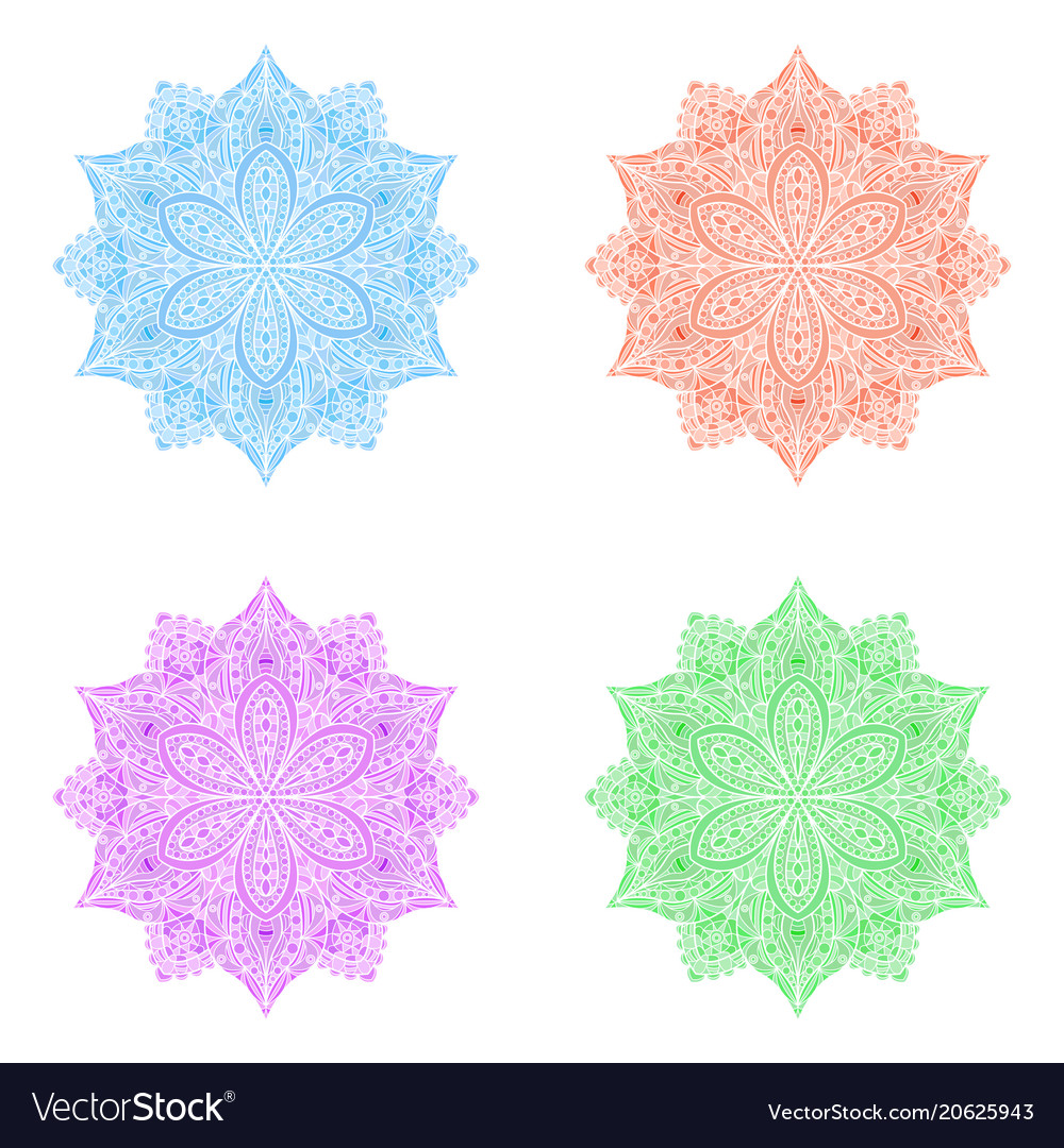 Abstract round floral symbol mandala like vector image